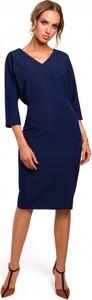 Sukienka MOE midi z dekoltem w kształcie litery v z długim rękawem