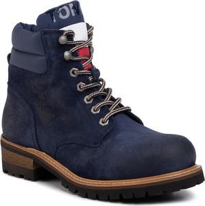 Niebieskie buty zimowe Tommy Jeans sznurowane