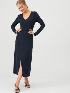 Sukienka V by Very midi z dekoltem w kształcie litery v z długim rękawem