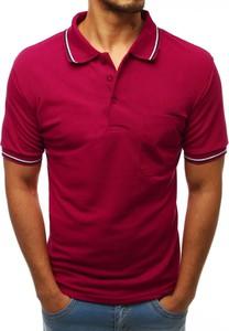 Czerwona koszulka polo Dstreet z krótkim rękawem z bawełny