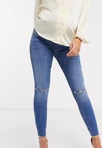 ASOS DESIGN Maternity – Ridley – Niebieskie obcisłe jeansy z efektem sprania, podwyższonym stanem i pasem na brzuchu
