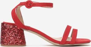 Czerwone sandały Multu ze skóry