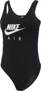 Czarna bluzka Nike w sportowym stylu z nadrukiem z dzianiny