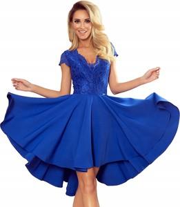 Niebieska sukienka NUMOCO z dekoltem w kształcie litery v mini z krótkim rękawem