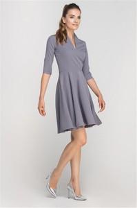 Niebieska sukienka Pawelczyk24.pl midi z długim rękawem