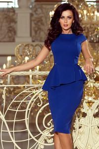 Niebieska sukienka NUMOCO z krótkim rękawem asymetryczna