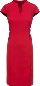 Czerwona sukienka bonprix BODYFLIRT z krótkim rękawem ołówkowa midi