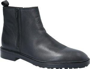 Granatowe buty zimowe Hugo Boss ze skóry