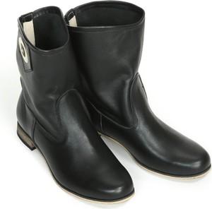 Czarne botki Zapato w stylu boho na obcasie ze skóry