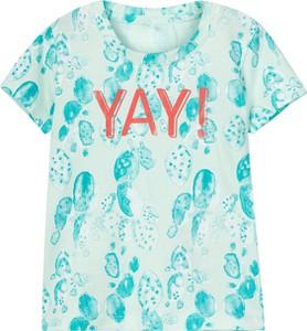 Miętowa koszulka dziecięca Name it z bawełny