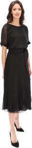 Czarna sukienka Lavard midi z krótkim rękawem