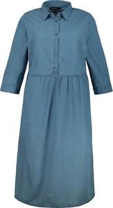 Niebieska sukienka Ulla Popken z długim rękawem z bawełny
