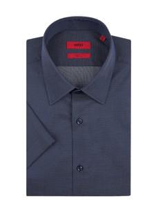 012fe3d32c91e Granatowa koszula Hugo Boss z bawełny z klasycznym kołnierzykiem