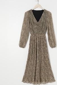 Brązowa sukienka Sinsay maxi z długim rękawem z dekoltem w kształcie litery v