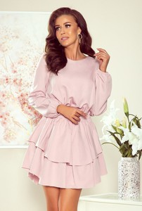 Różowa sukienka NUMOCO z okrągłym dekoltem mini