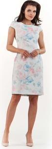 Sukienka Awama dopasowana z okrągłym dekoltem mini