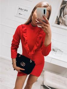 Czerwona sukienka magmac.pl mini w stylu casual z długim rękawem