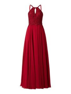 Czerwona sukienka Luxuar z dekoltem w kształcie litery v maxi z szyfonu