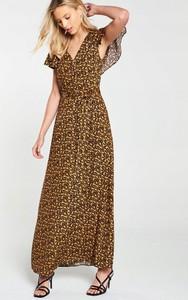 Brązowa sukienka V by Very maxi