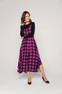 Sukienka Lavard z długim rękawem w stylu casual midi