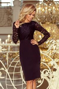 Czarna sukienka NUMOCO z długim rękawem midi