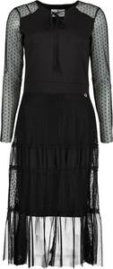 Czarna sukienka Lavard z dzianiny midi z dekoltem w kształcie litery v