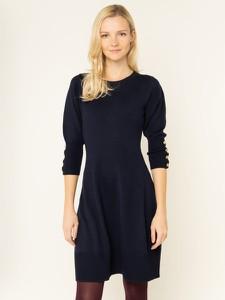 Granatowa sukienka Luisa Spagnoli z długim rękawem