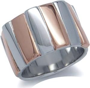 Braccatta ZEBRANO Srebrny pierścionek obrączka pozłacany