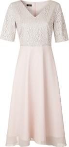 Sukienka poza.pl z dekoltem w kształcie litery v midi z krótkim rękawem