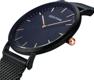 Zegarek premium GeekThink na czarnej bransolecie - znaczniki rose gold