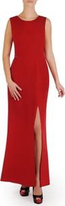Czerwona sukienka POLSKA z okrągłym dekoltem bez rękawów maxi