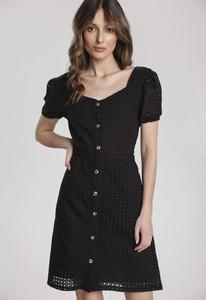 Czarna sukienka Renee mini z krótkim rękawem w stylu casual