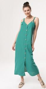 Zielona sukienka born2be z dekoltem w kształcie litery v w stylu casual na ramiączkach