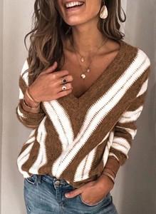 Brązowa bluzka Cikelly w stylu casual z okrągłym dekoltem