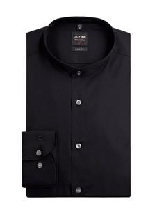 Czarna koszula Olymp Level Five z bawełny z długim rękawem ze stójką
