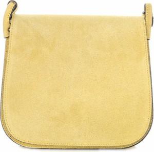 Żółta torebka GENUINE LEATHER przez ramię średnia z zamszu