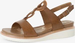 Brązowe sandały Tamaris na koturnie