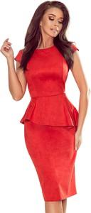 Sukienka Ptakmoda.com midi z zamszu z okrągłym dekoltem