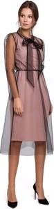 Sukienka Merg z tiulu midi z długim rękawem