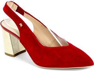 Czerwone sandały Sala na średnim obcasie ze skóry