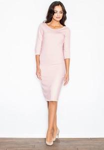Różowa sukienka Figl z długim rękawem