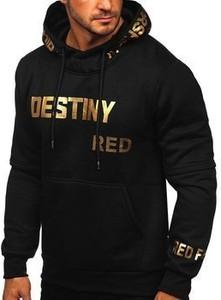 Czarna bluza Denley w młodzieżowym stylu z nadrukiem