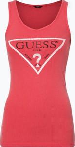 Czerwony top Guess Jeans z dekoltem w kształcie litery v