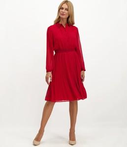 Czerwona sukienka Lavard z kołnierzykiem midi