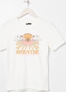 T-shirt Sinsay z krótkim rękawem z bawełny w młodzieżowym stylu