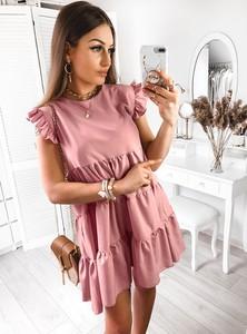 Sukienka Pakuten mini z krótkim rękawem w stylu casual