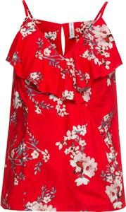 Czerwona bluzka bonprix RAINBOW w wakacyjnym stylu z dekoltem w kształcie litery v