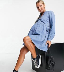 Mama Licious Mamalicious – Niebieska jeansowa sukienka o luźnym kroju-Niebieski