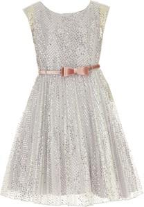 Srebrna sukienka dziewczęca Monnalisa z tiulu