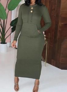 Zielona sukienka Cikelly ołówkowa z długim rękawem